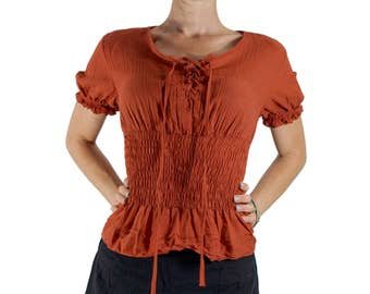 LACE FRONT BLOUSE - Pirate Renaissance Festival Costume Chemise Gypsy Top Pirate Steampunk Shirt Corset Top Vivid - Burnt Orange