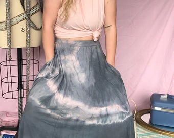 High Waist Maxi Boho Skirt Organic Cotton with pockets Shibori dyed from Simmer Clothing Free Ship