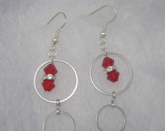 Red on Loops Earrings Set