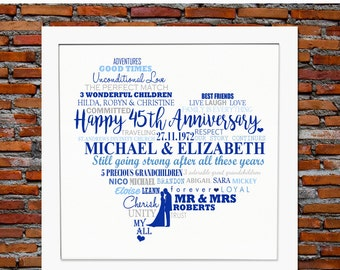 45th ANNIVERSARY GIFT - 45th anniversary, 45th wedding anniversary gift, 45th anniversary gift for parents, anniversary gift for parents
