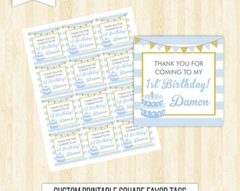 blue favor tags birthday favor tags blue and gold favor tags boy favor tags printable first birthday favor tags square tags thank you 215