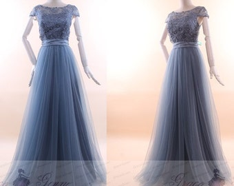 Dusty Blue Bridesmaid Dress 2017,Elegant Long Prom Dress,Bridesmaid Dress Tulle,Wedding Party Dress,Cap Sleeve Prom Dress,Bridesmaid Dresses