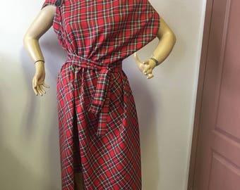 Red tartan checked Royal Stewart dress,Womens casual dress,Asymmetrical Tartan dress pinafore/oversized dress/plaid dress
