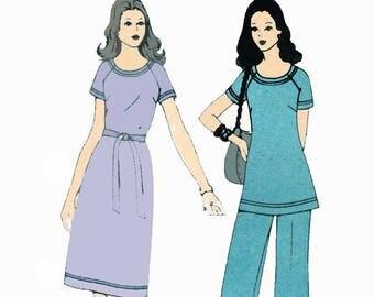 Vintage Plus Size T Shirt Dress Pattern Tunic Top Pattern Elastic Waist Pants 1970s Sewing Pattern Simplicity 5556 Size 20 Bust 42 UNCUT