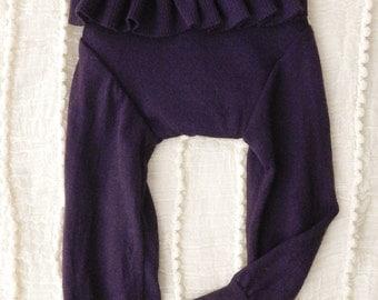 Warm Purple Ruffle-bum Longies - LARGE