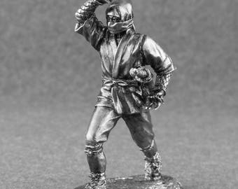 Medieval Toys Figures Japanese Ninja Samurai 54mm Tin Metal  2 1/4 Scale Miniature Action Figure Statuette Model 1/32 Figure Gift for Man