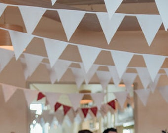 White Bunting to hire,  Rustic wedding decoration,  Vintage style flags,  Country Wedding decor, Winter Wedding