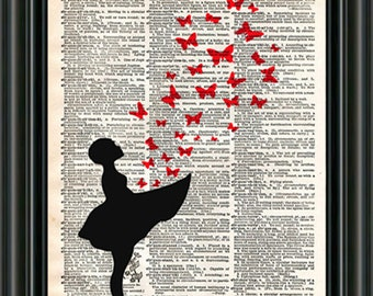 Girl with Butterflies, girl releases butterflies , butterfly wall art, vintage dictionary page book art print