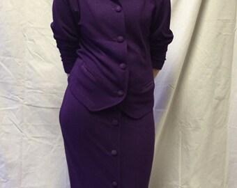 Vintage Purple Wool Benetton skirt suit