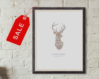 Deer Country, Personalized Map Art, Unique Gift, First Hunt, Anniversary, Housewarming, Map Deer Print Sale