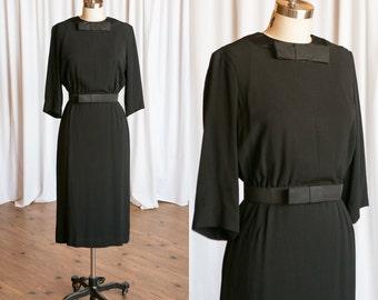 Audrey dress | vintage 60s dress | black rayon 60s dress | vintage 1960s little black dress | bow belt | vintage lbd | 50s Jerry Parnis