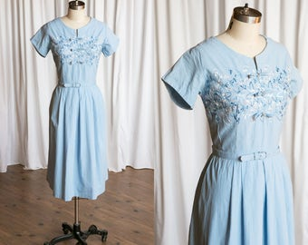 Isle of Skye dress | vintage 50s dress | blue cotton 1950s dress | embroidered cotton 50s summer dress | fit & flare full skirt