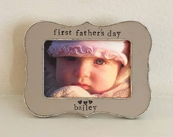 Dad gift First Father's Day frame Daddy picture frame Personalized picture frame from child 4 x 6 frame - Flowers in December