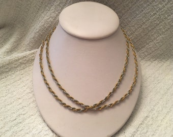 "Napier Gold Silver Tone Entwined Chain Necklace, Lightweight, Delicate Twisted Rope Necklace, 36"" long Chain Necklace, Gold and Silver Chain"
