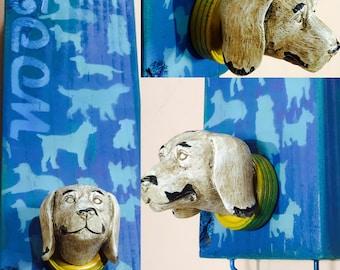 Pet storage /dog leash holder collar hanger /wall hanging custom pet portrait dog lover gift puppy party dog mom storage wood leash hooks