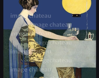 LOVELY WOMAN by Coles Phillips at Dinner - Glow of Japanese Lantern Light with Wine and Cigarette - Giclee Print Art Paper Archival