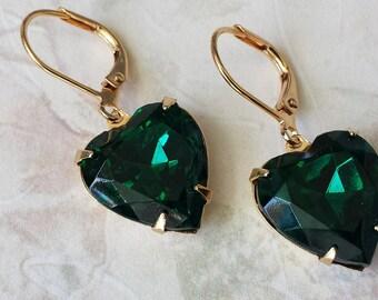 Emerald Heart Earrings - Heart Earrings - Rhinestone Earrings - Valentine Heart Earrings - Gift for Valentine's - Jewelry Gift