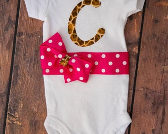Customized monogrammed baby girl outfit!