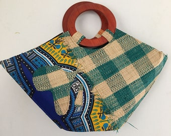 Raffia-Dashiki Handbag/ African Print Wax Handbag