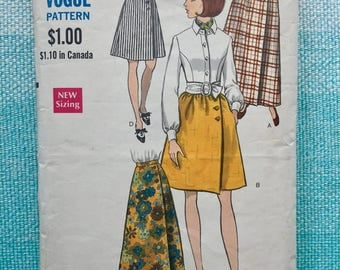 1960s Vogue 7450 Sewing Pattern Wrap Skirts Maxi Asymmetrical A-Line Full Gathered Knee Length Dirndl Pockets Waist 24