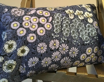 Handmade Cushion. Gorgeous Vintage Blue Flower Print Material. Alma Paradise Designs. 100% British. 1 of 2.