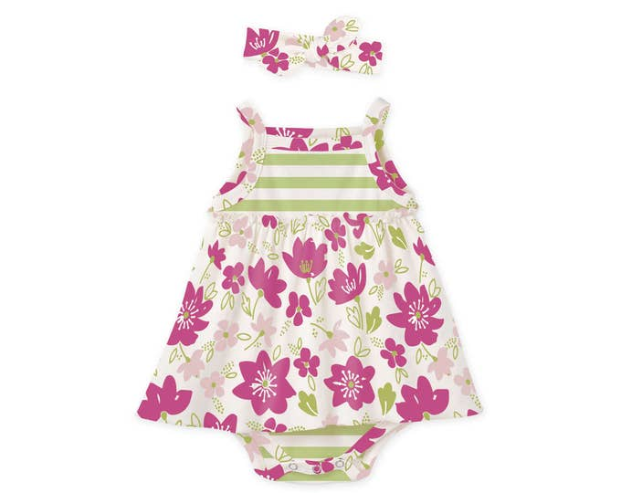 Newborn Girl Coming Home Outfit Summer, Baby Girl Summer Dress Skirted Bodysuit, Pink Floral Baby Bodysuit Headband, TesaBabe BH51CIGFM0000