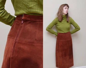 70s Suede Midi Skirt // Rust Simple Leather Deadstock Pencil // M L