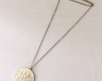 Vintage Sterling Silver Necklace with Round Sterling Pendant Featuring a Love Knot Detail - Wedding, Bridal, Engagement Gift,  Bridesmaid