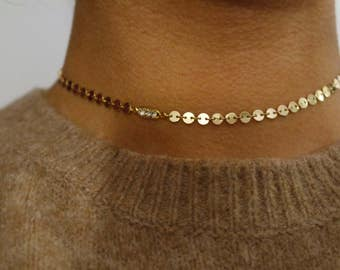 Gold Coin choker, chain choker, boho choker, gold choker, coachella jewelry necklace, boho choker, gold coin necklace, crystal choker