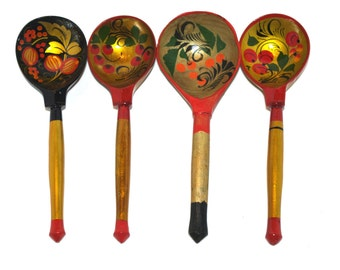 Set of 4 Russian Wooden Spoons Black Golden Khokhloma painting Handmade Spoon Rest Soviet Russian national ornament vintage Russian Folk Art