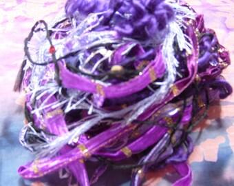 "24 YDS.""Love PURPLE"" fiber art yarn bundlLE/ 2O types! knitting accents/embellishment trim/scrapbook/weaving/craft yarn/journal/cardmaking"