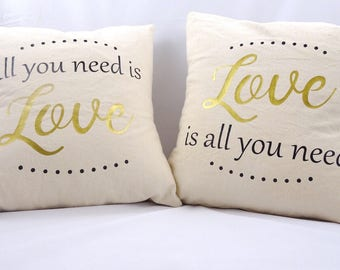 All you need is love throw pillow cover  the beatles pillow  quote pillow  love quote pillow