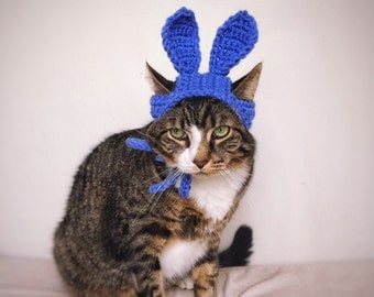 Halloween Costume Easter Bunny Hat for Cat Crochet Blue Costume Hat for Cat Unique Handmade Pet Accessories