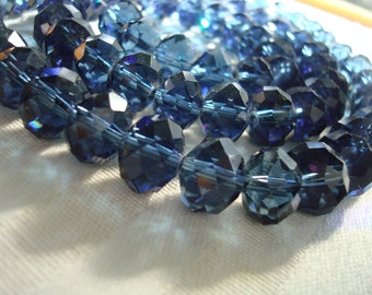 SALE! Big Prussian Blue Hand Cut Faceted Rondelles. 12x9mm Translucent, Montana Blue, Blue Jean Blue, Smokey Teal Faceted Glass Rondelles.