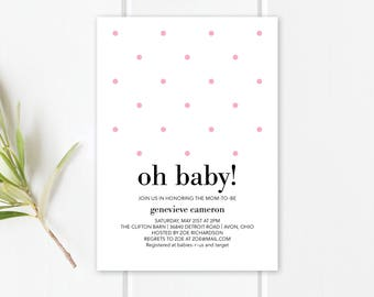 Oh Baby Shower Invitation Template | Editable PDF Invite | Oh Baby Shower Invitation | Baby Shower Printable | Dots | Instant Download