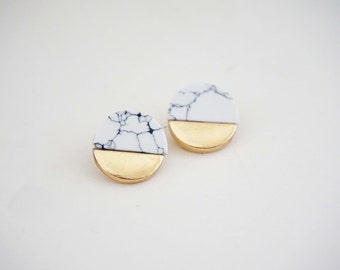 Gold and Marble Post Stud Earrings