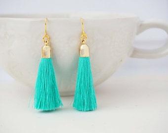 Aqua Mint and Gold Tassel Earrings