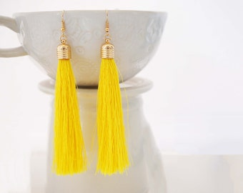 Yellow and Gold Long Tassel Statement Earrings