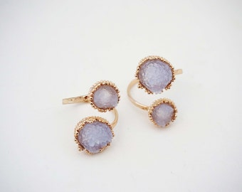 Amethyst and Gold Druzy Twist Staetment Ring