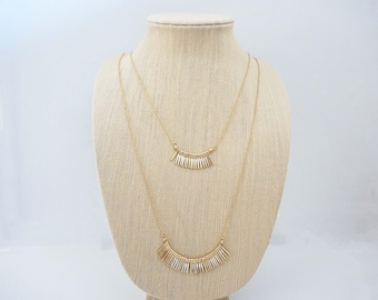 Double Strand Gold Pendant Necklace