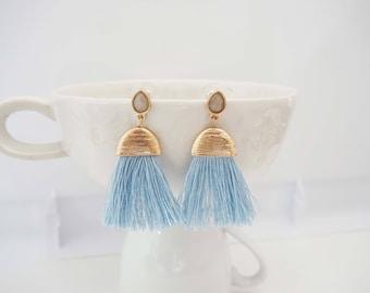 Light Blue and Gold Tassel Post Stud Earrings