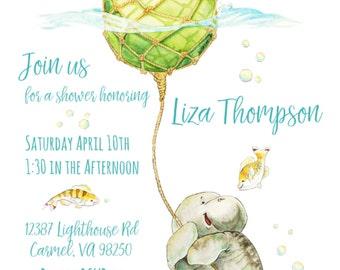 Manatee Watercolor, Manatee Baby Shower, Printable Invitation, Custom Shower Invitation, Printable Invitation, Manatee Invitation