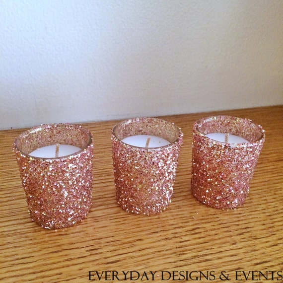 25 Rose Gold Votive Candle Holders Wedding Centerpiece