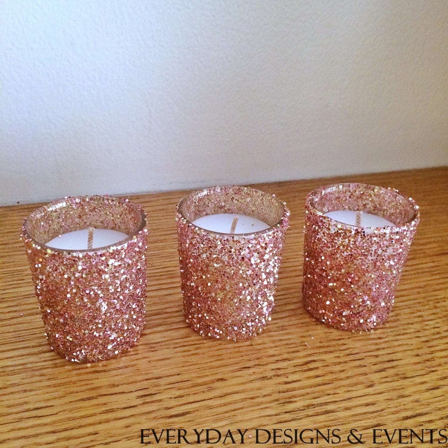 25 rose gold votive candle holders wedding centerpiece rose for Decoration rose gold