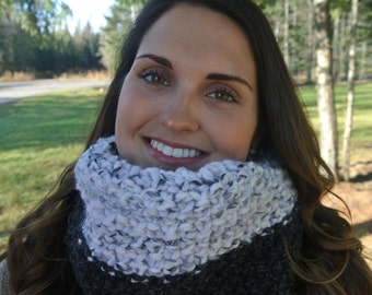 Black Grey Ombre Hand Knit Chunky Cowl