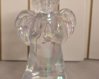 Opalescent Glass Angel decoration, Glass Angel, Iridescent, Christmas Decoration