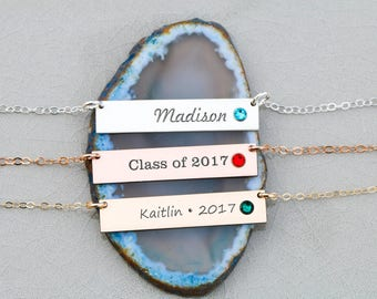 SALE • Graduation Gift Birthstone Necklace • Sterling Silver Bar Necklace Name Engraved Custom Name Jewelry • Necklace Grad Gift Her BB_17