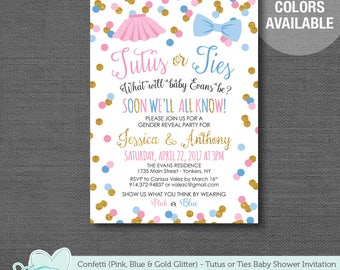 Tutus and Ties Gender Reveal Invitation Printable Pink Blue and Gold Glitter, Baby Shower Invitation, Confetti, 1T