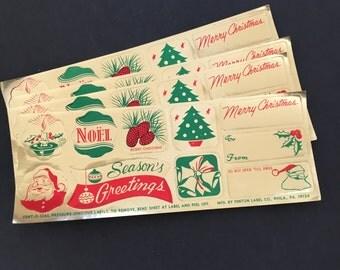 Vintage Christmas Labels. Fent-O-Seal Christmas Seals.