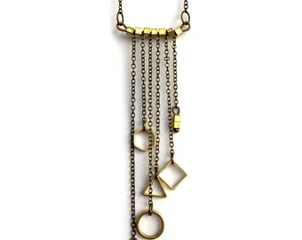Gold Geometry Tassel Necklace, Body Jewelry, Fringe, Multilayer Collar, Choker, Tassel Chains, Minimalist, Minimalism, Modern Design
